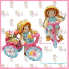 Flower Girl riding a tricycle Amigurumi PDF Crochet Pattern by