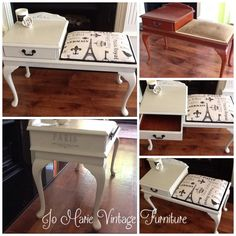 Refurbished telephone table, painted & re-upholstered please view more info on my facebook page www.facebook.com/Jomarievintagefurniture