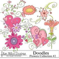 Kay Miller flower and heart doodles