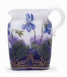 Daum glass pitcher with violets