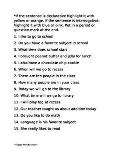 Give your students the opportunity to practice writing and identifying declarative and interrogative sentences with this worksheet! Types Of Sentences Worksheet, Kinds Of Sentences, Subject And Predicate Worksheets, 2nd Grade Grammar, 2nd Grade Math Worksheets, English Grammar Worksheets, Subject Verb Agreement, Subject And Verb, Sentence Writing