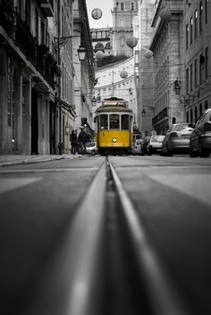 Lisboa, Downtown Shot by Mr. Yellow Art, Mellow Yellow, Yellow Photography, Travel Photography, Pictures To Paint, Cool Pictures, Pele Mele Photo, Lisbon Tram, Color Splash Photo