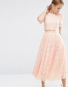 Lace crop top midi prom by Asos. Midi dress by ASOS Collection, Lined eyelash… Pink Midi Dress, Pink Prom Dresses, Trendy Dresses, The Dress, Nice Dresses, Evening Dresses, Bridesmaid Dresses, Formal Dresses, Party Dresses
