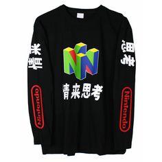 Nintendo N64 Long Sleeve T Shirt Top Vaporwave Japanese NEW #Printed