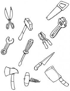 tool coloring pages for kids | CARPENTER coloring pages - Color each tool coloring page