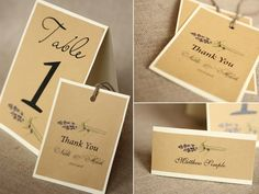 Lavender table number, favor tag, place card