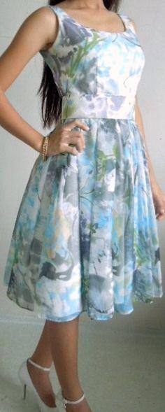 Blue floral chiffon dress knee length skirt V back by elegance50s