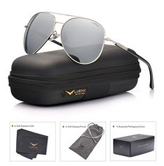 85107b08d27a5 LUENX Mens Womens Aviator Sunglasses Polarized Silver Mirrored Lens Metal  Frame with case UV 400 Protection Driving Clothing