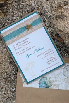 Wedding invitation with a beach theme. If you want the best officiant for your Outer Banks, NC, ceremony, contact Rev. Barbara Mulford: myobxofficiant.com/