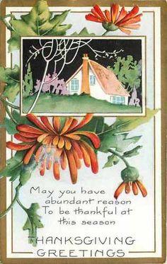 Thanksgiving~Art Deco~Black Sky~Purple Bush~White Tree~Red Flowers~Whitney Made | eBay