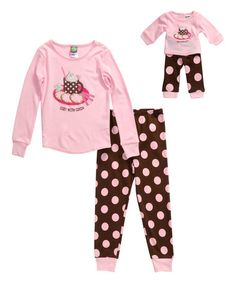 Another great find on #zulily! Pink 'Cocoa' Top Set & Doll Outfit - Toddler & Girls #zulilyfinds