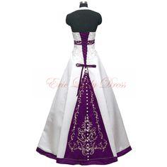 2015 Wedding Dresses,Halter White And Purple Embroidery Wedding Dresses