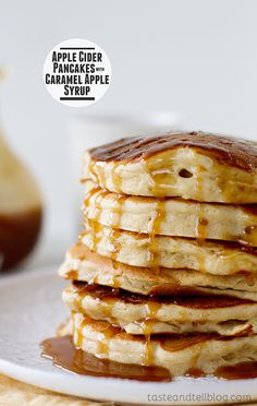 Apple Cider Pancakes with Caramel Apple Syrup // Host a Caramel Apple Tasting Party