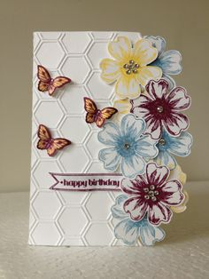 Stampin Up Flower Shop Stamp Set-130942 SU Honeycomb embossing folder-129378 Papillon Potpourri Butterfly-123759 & Bitty Buterfly Punch-12946