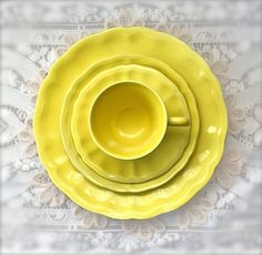 ELYSEE LUNEVILLE Faience of France, Louis XV Yellow French Dinnerware, (1) Four Piece Place Setting, Vintage, Discontinued, Replacements by TablewareBoutique on Etsy