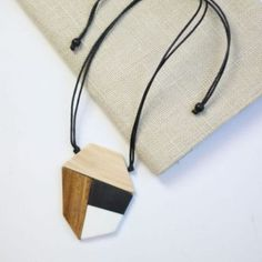 Modern Black, White and Wood Pendant