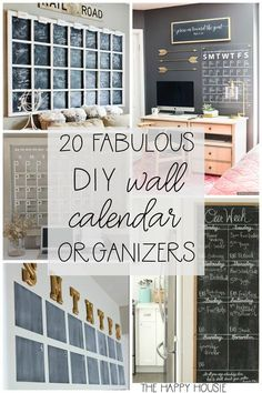 Ready to get organized for the school year? Having a wall calendar helps me stay organized and on task! On the blog, I'm sharing 20 Fab DIY Family Wall Calendar Organizers to keep your family routine sane. #thehappyhousie #backtoschool #schooltime #organization #wallcalendar #schoolyear Family Organization Wall, Family Organizer, Organization Station, Bedroom Organization, Kitchen Calendar Organization, School Organization, Diy Wand, Family Command Center, Command Centers