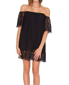 +Netted floral crochet lace shift dress features off-shoulders