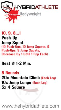 Get moving with this bodyweight workout! Pin now and give it a try when you're ready. #TrainHybrid