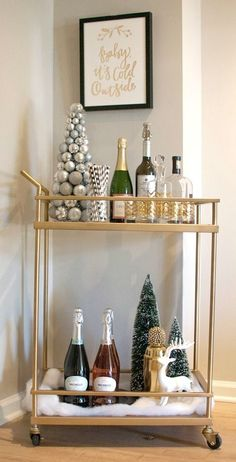 Bar Cart Ideas - There are some cool bar cart ideas which can be used to create a bar cart that suits your space. Having a bar cart offers lots of benefits. This bar cart can be used to turn your empty living room corner into the life of the party. Decor, Holiday Bar Cart, Bar Decor, Bar Furniture, Diy Bar, Christmas Decorations, Holiday Bar, Home Decor, Bar