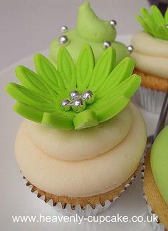 green floral cupcakes - Most Beautiful Cakes Ever Cupcakes Flores, Daisy Cupcakes, Pretty Cupcakes, Beautiful Cupcakes, Sweet Cupcakes, Yummy Cupcakes, Spring Cupcakes, Floral Cupcakes, Wedding Cupcakes