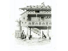 """Authentic lithograph taken from the """"Architecture Suisse Constructions Rustiques"""". Collection of 50 copper engravings displaying traditional Swiss Chalets architectural sty... #architecture #cottage"""
