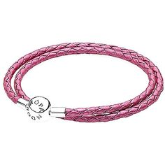 Pandora Silver & Honeysuckle Pink Leather Wrap Bracelet (€23) ❤ liked on Polyvore featuring jewelry, bracelets, nocolor, charm bangle, charm jewelry, silver jewelry, silver wrap bracelet and leather wrap bracelet