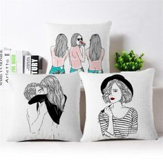 Artistic Sketch Scenes Throw Pillows | $$12.04 | Best SALES on Unique Wall Art and Throw Pillows