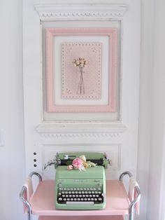 Vintage typewriter with Victorian door.  Pink and mint Kitchen.
