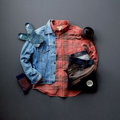 Rugged Men's Fashion, double denim and flannel make for the perfect combonation! #menswear #mensfashion #menstyle #boots #flannel