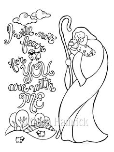Good Shepherd Coloring Page In Two Sizes 85X11 And Bible Journaling Tip 6X8