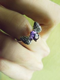 Bridal Ring Sterling Silver Wings Angel Ring by BonTonContemporary Valentine's Day Rings, Angel Ring, Silver Wings, Bridal Rings, Druzy Ring, Sterling Silver Rings, Valentines Day, Amethyst, Delicate