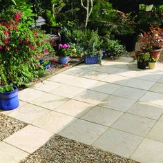 A gentle riven paving with smooth edges providing an economical solution without compromising on aesthetics. Each pack contains 76 units. When laid using a joint each pack contains enough paving slabs to cover Thickness: Bradstone Paving, Concrete Paving Slabs, Patio Slabs, Paving Stones, Back Garden Design, Backyard Retreat, Back Gardens, Garden Planning, Sidewalk