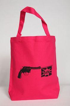 Canvas Tote Bag Bang Bang Tote In Pink by Bullabags on Etsy, $20.00