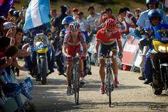 Alberto Contador Velasco (Team Saxobank – Saxo Bank) and Daniel Moreno Fernandez (Team Katusha – Katuscha) pictured during stage 20