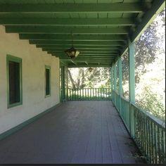 Historic Rancho Los Cerrito Adobe, upper veranda.  Love the classic green.