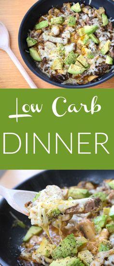 Low Carb Abendessen - Schnell, lecker, gesund, kohelnhydratarm. Ein warmes Gericht, dass schnell zubereitet ist und garantiert allen schmeckt. Ein deutsches Rezept. Low Carb Dinner