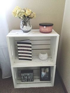 Wood crate nightstand, country style, white washed, end tables, College dorm room end tables - Wood Crates Shipping Crate Nightstand, Nightstand Ideas, Bedside Tables, Rustic Nightstand, Bedside Table Ideas Diy, Rustic Bed, Diy Bett, Diy Casa, First Apartment