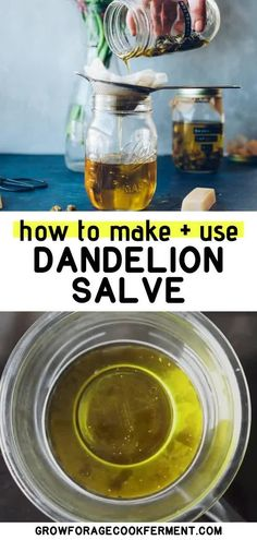 Learn how to make this dandelion salve recipe using foraged dandelions! This homemade herbal salve is especially good for sore muscles, joints, and dry skin. Natural Cough Remedies, Natural Health Remedies, Herbal Remedies, Dry Skin Remedies, Holistic Remedies, Natural Cures, Natural Medicine, Herbal Medicine, Salve Recipes