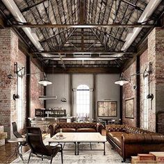 Incredible #interior space, consisting of exposed ceiling trusses and brick work.. Finished off with the perfect #decor to create this envious man space. Photo || @themancaveblog #design #interiordesign #mancave #lifestyle #Melbourne #edisonblake