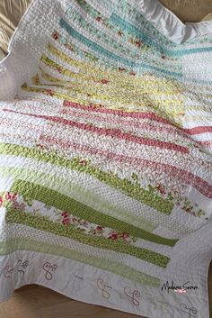 Quilt: Drop Me a Line, by Madame Samm. Fabric: Fresh Palette by Carrie Nelson