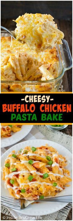 Buffalo Chicken Pasta Bake - spicy chicken dip meets pasta in an easy 30 minutes dinner recipe. This is one dish that will disappear in a hurry! (Buffalo Chicken Meals)
