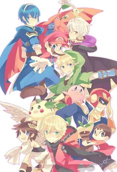Link, Pikmins (Blue, Yellow and Red), Villager, Captain Falcon, Shulk, Robin, Marth, Mario, Kirby, Pit and Pikachu.