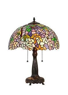 CHLOE LIGHTING CH33373WP16-TL2 TIFFANY-STYLE WISTERIA 2 LIGHT TABLE LAMP 16-INCH SHADE, MULTI-COLORED - Click image twice for more info - See a larger selection of tiffany table lamps at http://tablelampgallery.com/product-category/tiffany-table-lamps/ - home, home decor, home ideas, lightning, gift ideas, lamp.