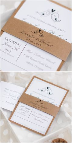 love birds themed layered rustic wedding invitations