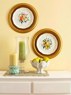 Frame vintage plates with ceiling medallions.