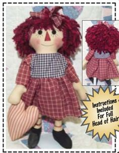 DIY Primitive Raggedy Ann Heart for You. Epattern. Instant download. $6.50