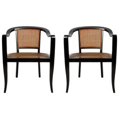Pair of Edward Wormley for Dunbar Style Caned Chairs | From a unique collection of antique and modern armchairs at https://www.1stdibs.com/furniture/seating/armchairs/