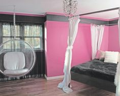 Youth room design ideas pink wall color hanging chair black bed