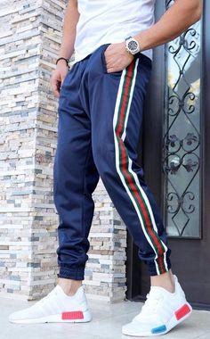 Pantaloni Trening `STRIPE` - BLEUMARIN (Cod: JOG02) - haine barbati Joggers, Sweatpants, Nike, Sports, Collection, Fashion, Hs Sports, Moda, Runners